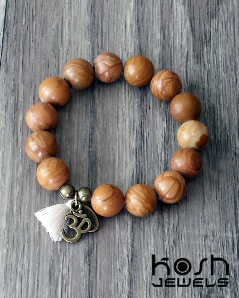 CHARM SERIES - 12mm WOOD GRAIN AGATE & OM
