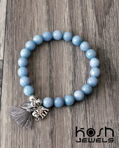 CHARM SERIES - 8mm BLUE QUARTZ & ELEPHANT