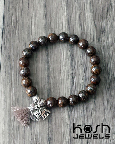 CHARM SERIES - 8mm BRONZITE & ELEPHANT
