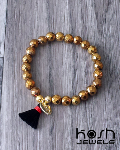 CHARM SERIES - 8mm GOLD HEMATITE & TASSEL