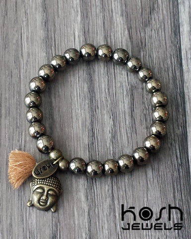 CHARM SERIES - 8mm GOLDEN PYRITE & BUDDHA