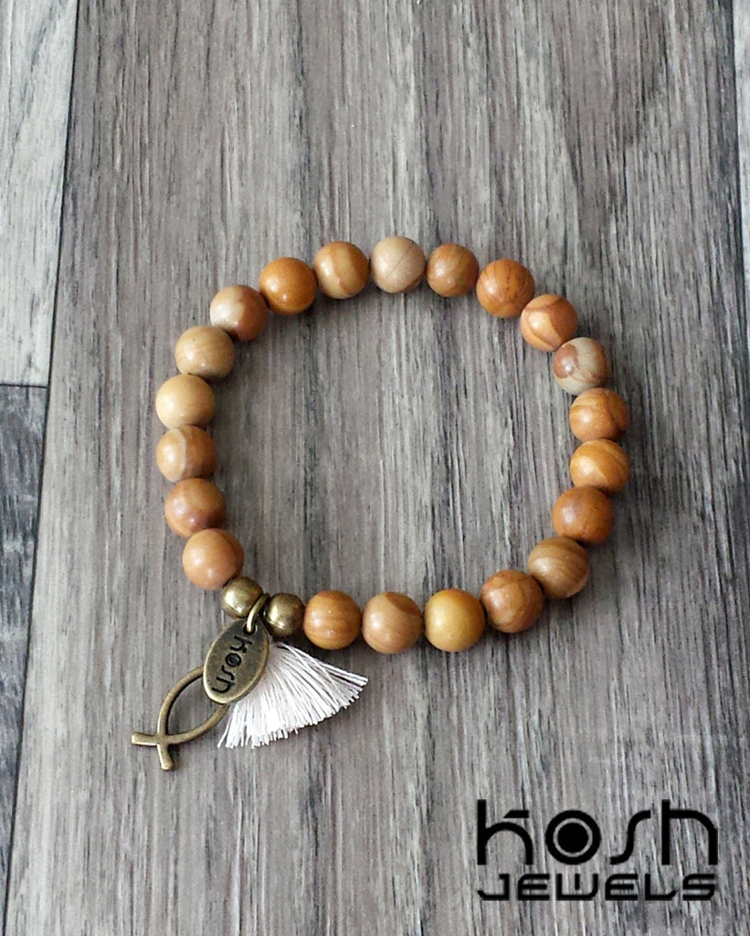 CHARM SERIES - 8mm WOOD GRAIN AGATE & ICHTHYS