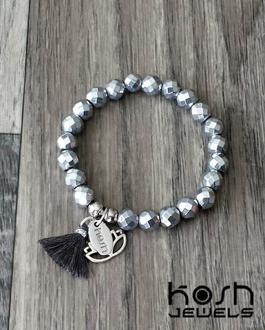 CHARM SERIES - 8mm SILVER HEMATITE & LOTUS