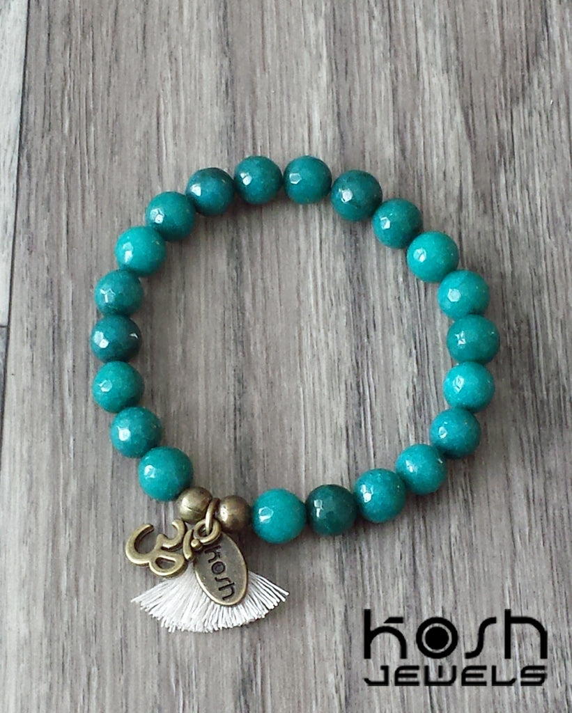 CHARM SERIES - 8mm TEAL BLUE QUARTZ & OM
