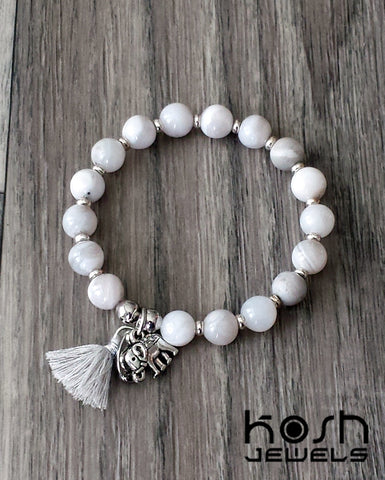 CHARM SERIES - 8mm WHITE AGATE& ELEPHANT