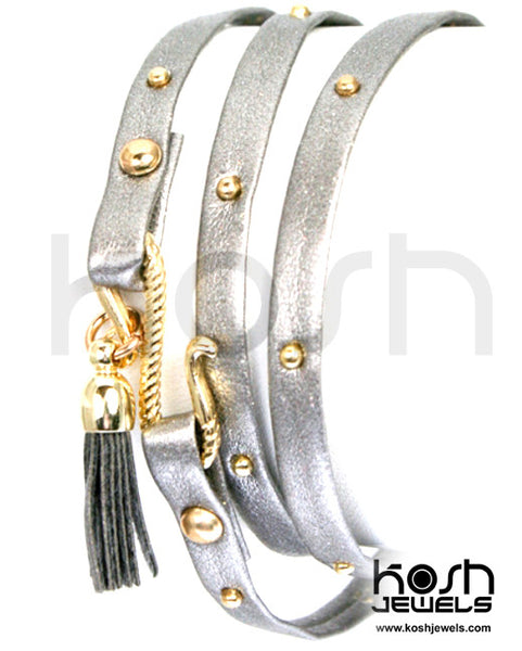 THIN WRAP LEATHER STUDDED WRAP BRACELET