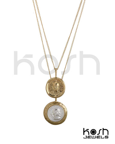COIN PENDANT NECKLACE - DOUBLE LAYERED