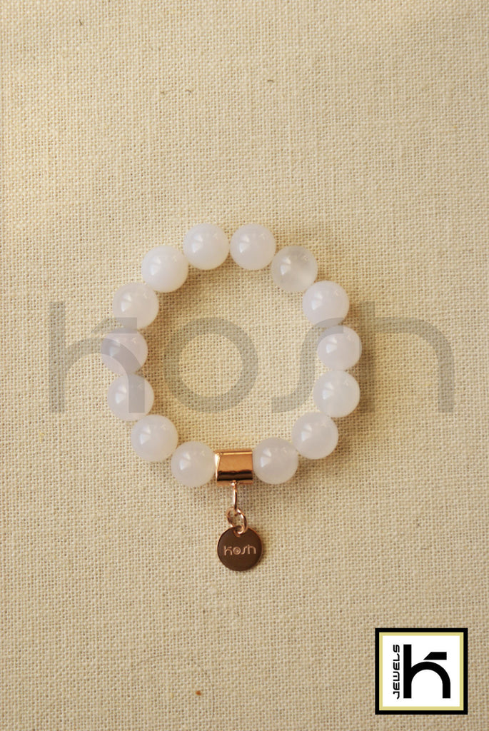 WHITE JADE BEADED BRACELET 12MM