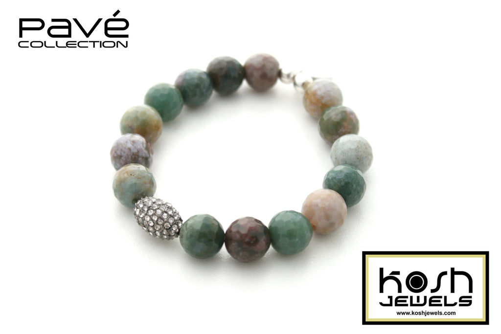 PAVÉ CANYON SIGNATURE BEADED BRACELET -12mm faceted