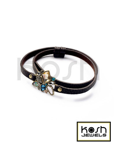 BLOOM LEATHER WRAP BRACELET - DARK BROWN