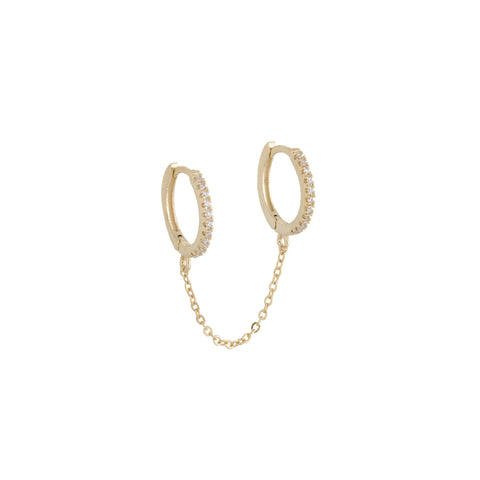 CHAIN DROP EARRING DOUBLE PAVÉ HUGGIE