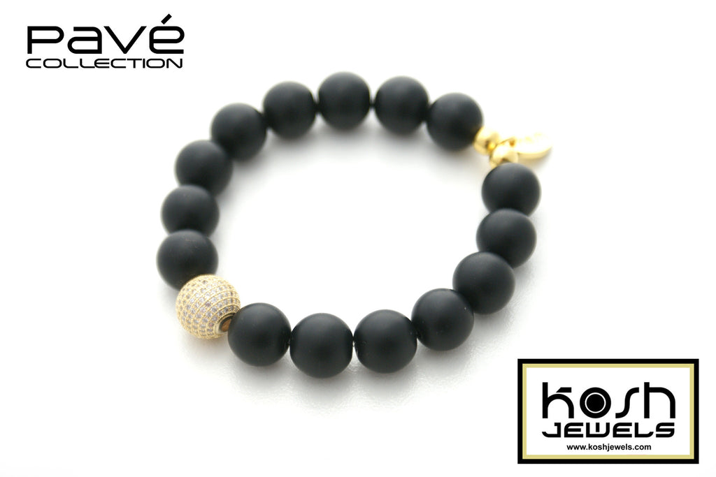 PAVÉ ONYX SIGNATURE BEADED BRACELET