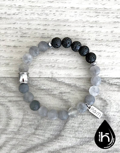 ESSENTIAL OIL DIFFUSER BRACELET - SMOKEY GRAY QUARTZ