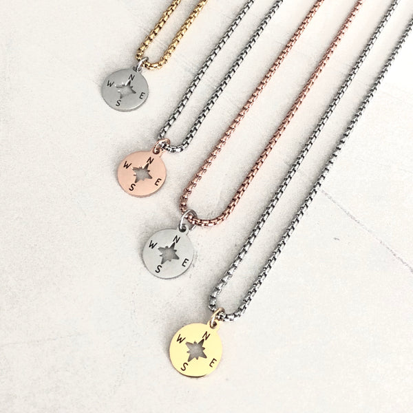 COMPASS ROSE TWO-TONE NECKLACE DUO