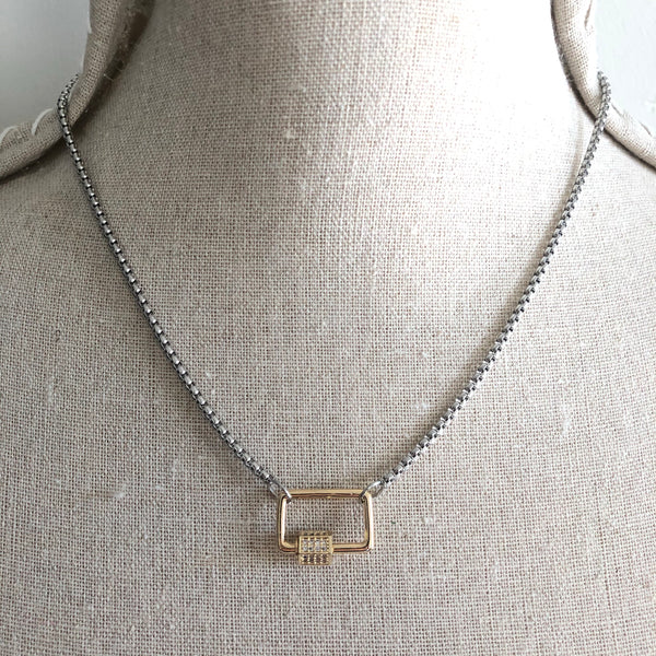 CARABINER - MINI RECTANGLE PAVÉ LOCK NECKLACE