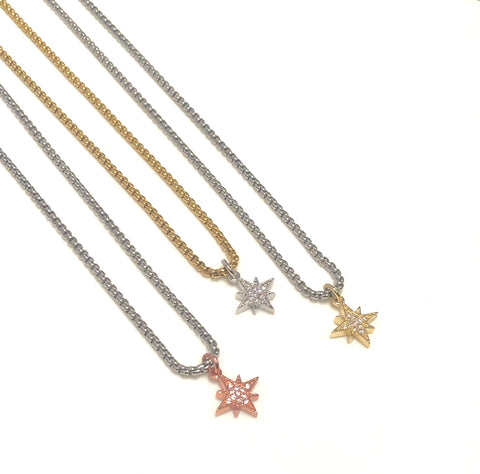 PAVÉ MINI PENDANT NECKLACE - NORTH STAR