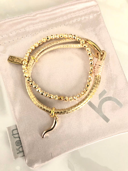HORN & LEATHER BANGLE DUO