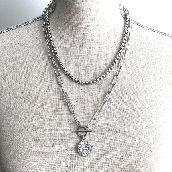 PAPERCLIP COIN NECKLACE - STAINLESS STEEL