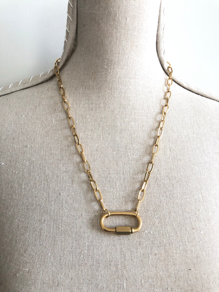 CARABINER - MEGA LOCK PAPER CLIP NECKLACE - STAINLESS STEEL