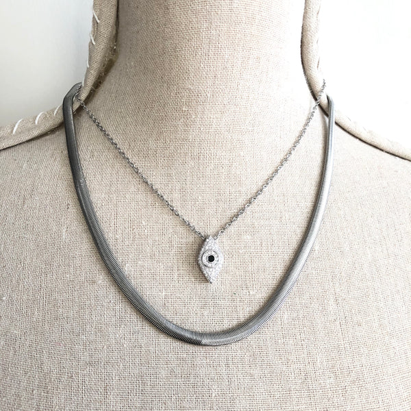 HERRINGBONE SNAKE CHAIN and EVIL EYE NECKLACE SET
