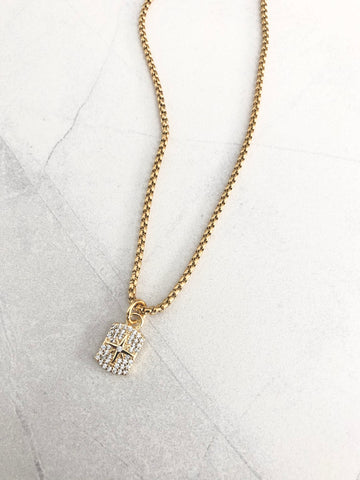 PAVÉ MINI PENDANT NECKLACE - NORTHSTAR DOG TAG