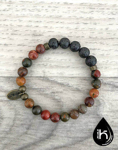 ESSENTIAL OIL DIFFUSER BRACELET - BROWN JASPER