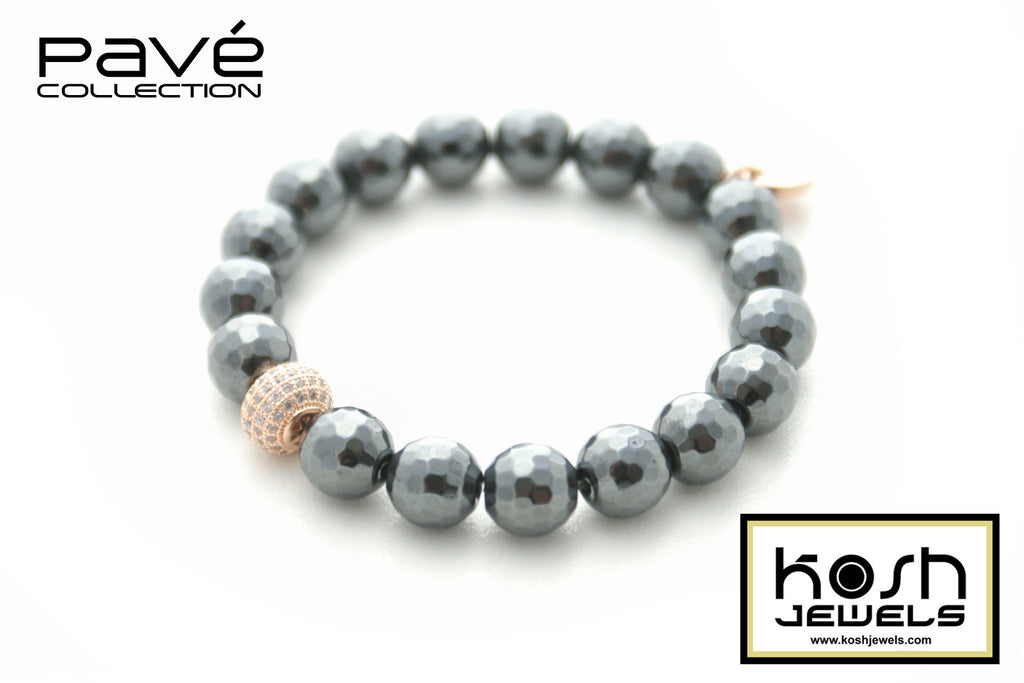 PAVÉ HEMATITE SIGNATURE BEADED BRACELET -10mm faceted