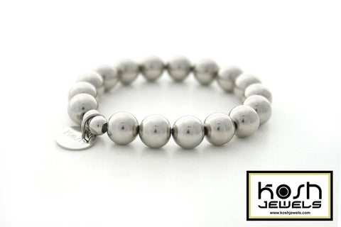 CLASSIC STAINLESS STEEL BEADED BRACELET