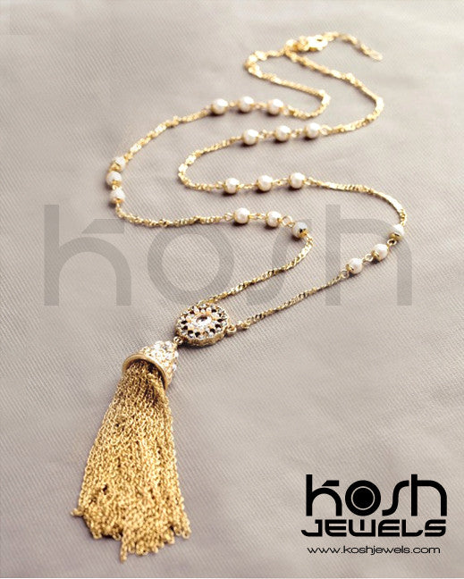 TASSELS & PEARLS NECKLACE