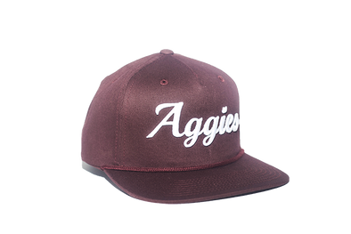 Texas A&M University Cursive Retro Snapback Hat – Maroon