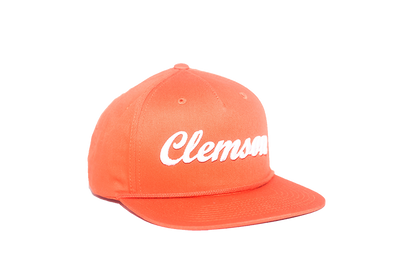 Clemson University Cursive Retro Snapback Hat - Orange