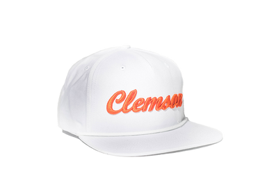 Clemson University Cursive Retro Snapback Hat - White