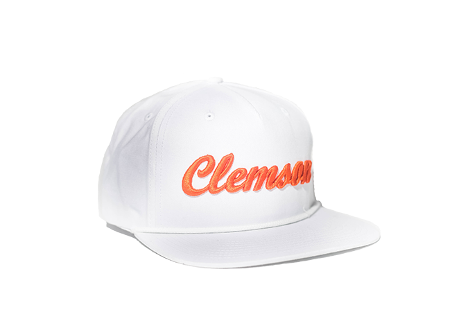 42e9ca486566 Clemson University Cursive Retro Snapback Hat - White – The Collegiate  Player