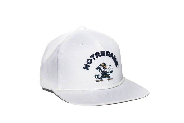 University of Notre Dame Classic Retro Leprechaun Snapback Hat - White