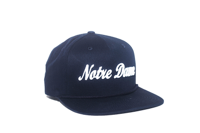 University of Notre Dame Cursive Retro Snapback Hat – Blue
