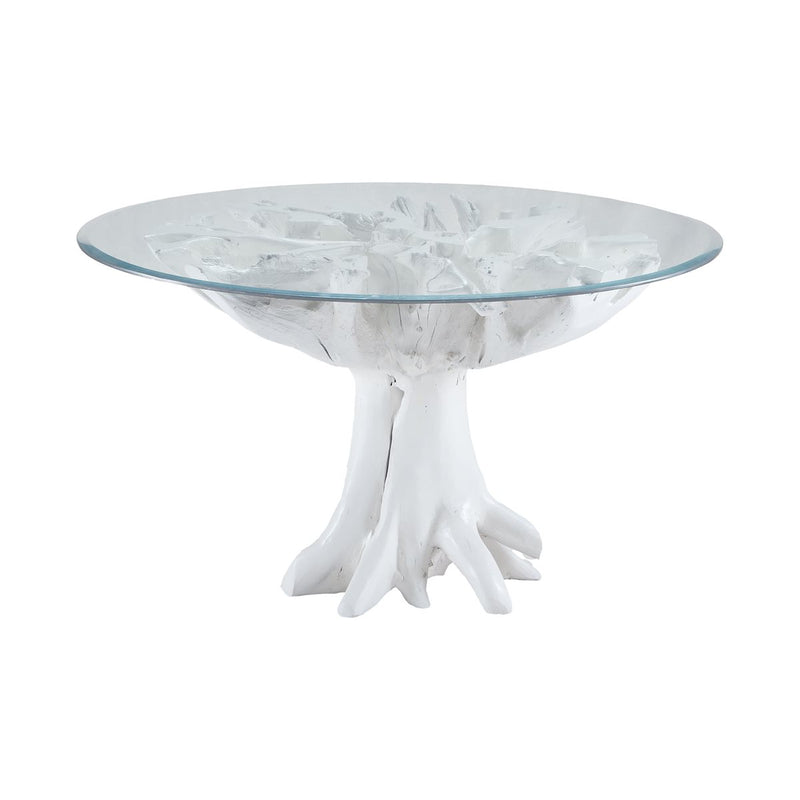 Yava Teak Root Entry Table with Glass Top in White