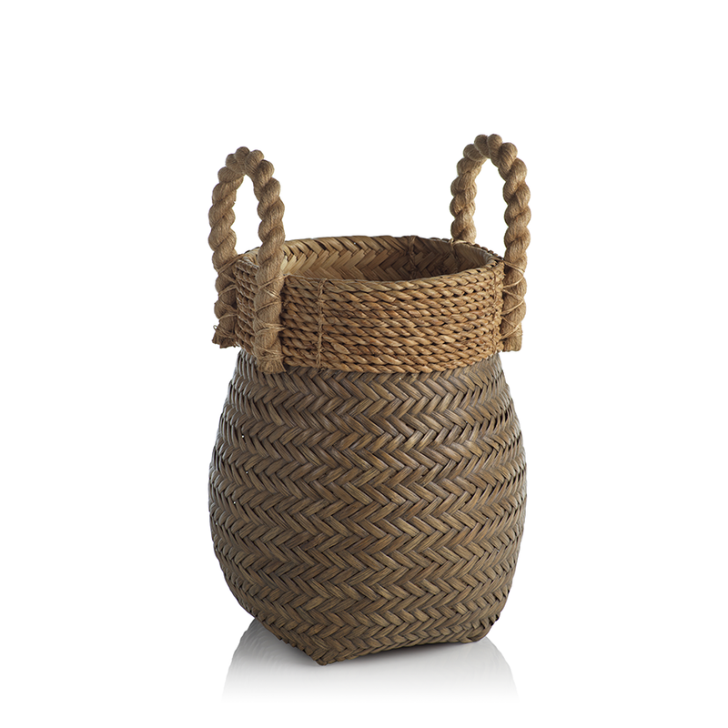 Isola Rattan Basket with Jute Rope Handle - Small