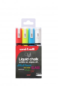 Uniball Liquid Chalk  - 4 x Coloured Bullet Tip Markers