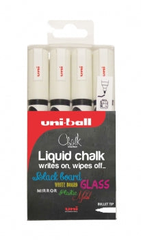 Uniball Liquid Chalk Markers - 4 x White Bullet Tip