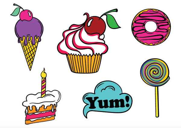Fun Snack Attack Sticker Set - 13 delicious stickers