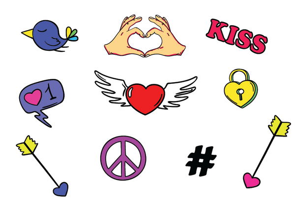 Fun Hearts Sticker Set - 16 crushworthy stickers