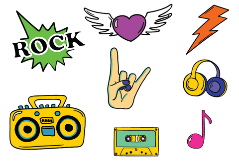 Fun Rock Sticker Set - 15 rockin' stickers