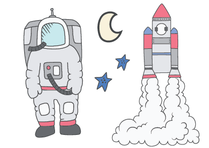 Astronaut & Space Sticker Set -  4 different sheets