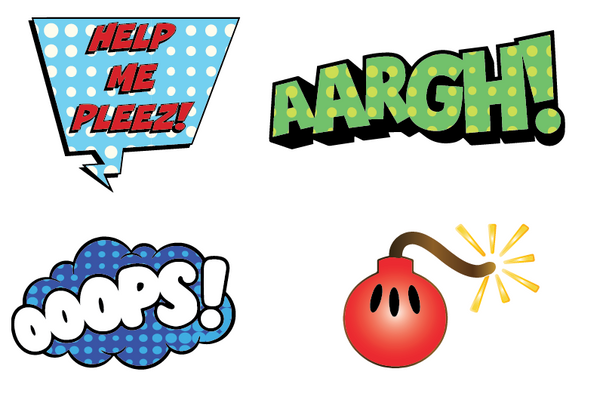Say It Comic Book Sticker Set - 19 epic stickers