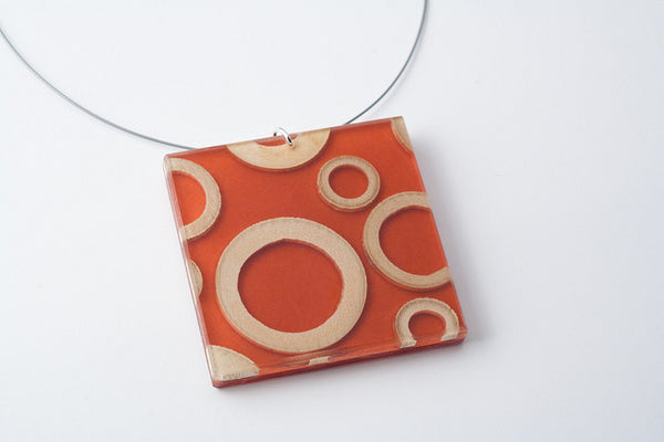 Bamboo Rings Mesa Necklace - Lrg Square
