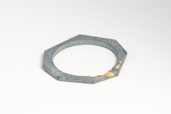 Concrete Bangle - Octagon - Gold