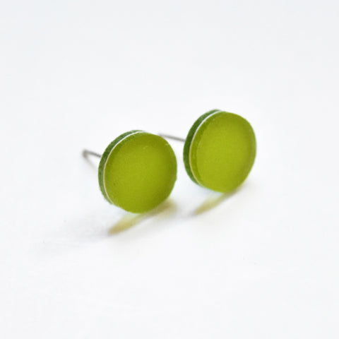 Chartreuse Stud Earrings - Circle