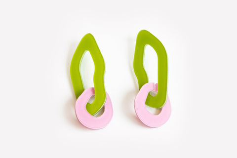 Chartreuse Lilac Earrings - Double Link