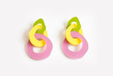 Chartreuse Mellow Lilac Earrings - Triple Link