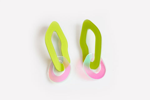 Chartreuse Solar Earrings - Double Link